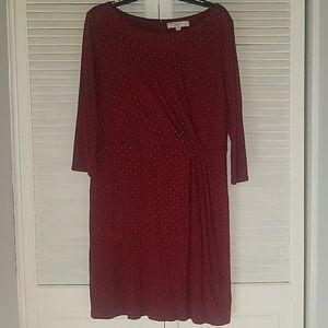 NWOT Loft Dress Sz XL Burgundy/Black